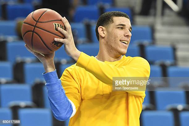 UCLA guard Lonzo Ball throws a pass during warmups before an NCAA basketball game between the UC Santa Barbara Gauchos and the UCLA Bruins on...