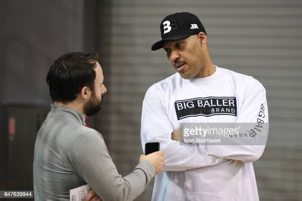 UCLA guard Lonzo Ball's father LaVar Ball talks to a reporter before a college basketball game between the Washington Huskies and the UCLA Bruins on...
