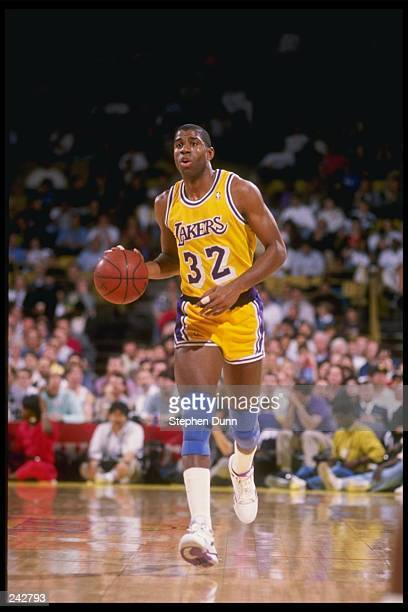 Guard Magic Johnson of the Los Angeles Lakers in action during a game at the Great Western Forum in Inglewood California Mandatory Credit Stephen...