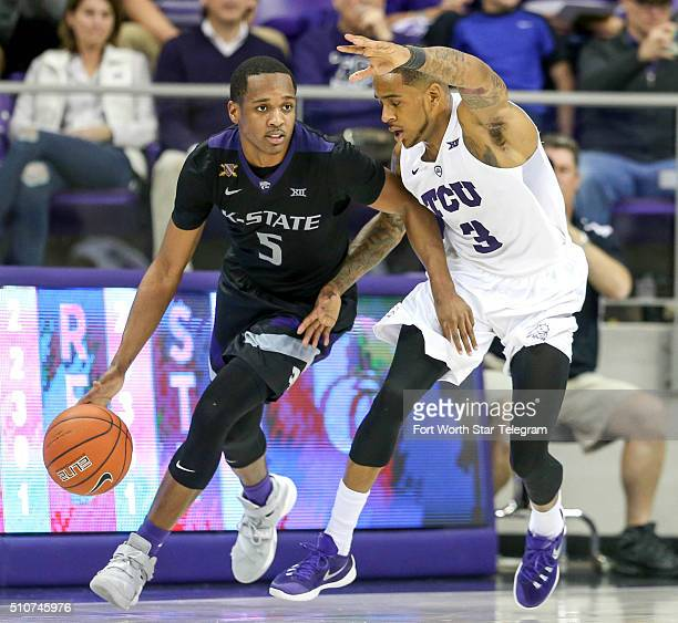 TCU guard Malique Trent tries to defend Kansas State guard Barry Brown during the second half on Tuesday Feb 16 at Schollmaier Arena in Fort Worth...