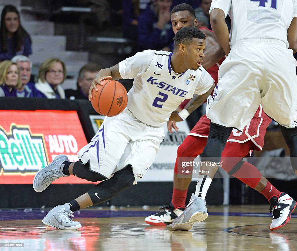 Guard Marcus Foster of the Kansas State Wildcats drives with the ball against the Oklahoma Sooners during the first half on February 14 2015 at...