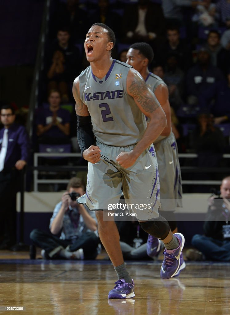 Guard Marcus Foster #2 of the Kansas State Wildcats reacts after scoring against the Mississippi Rebels during the first half on December 5, 2013 at Bramlage Coliseum in Manhattan, Kansas. Kansas State won 61-58.