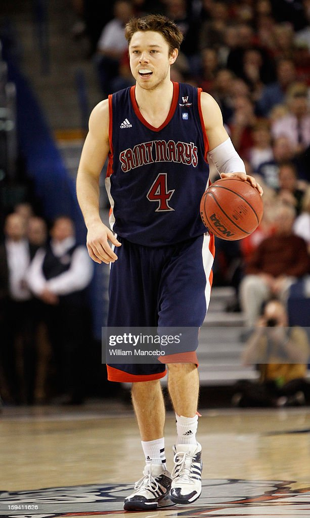 Guard Matthew Dellavedova #4 of the Saint Mary's Gaels controls the ball during the game against the Gonzaga Bulldogs at McCarthey Athletic Center on January 10, 2013 in Spokane, Washington.