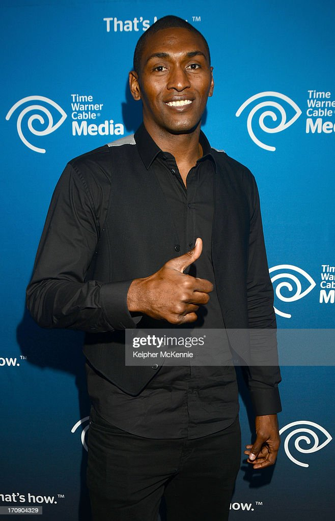 NBA Guard Metta World Peace attends Time Warner Cable (TWC Media) 'View From The Top' Upfront honoring LA Lakers' Dr. Jerry Buss at Vibiana on June 19, 2013 in Los Angeles, California.