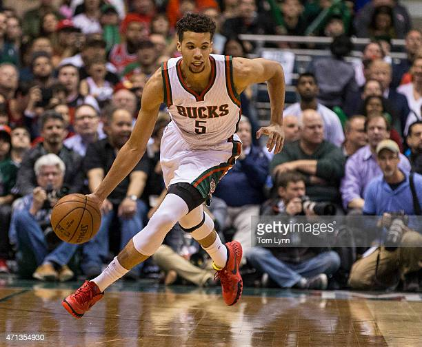 Guard Michael CarterWilliams of the Milwaukee Bucks brings the ball up court against the Chicago Bulls in the second quarter of game three of the...