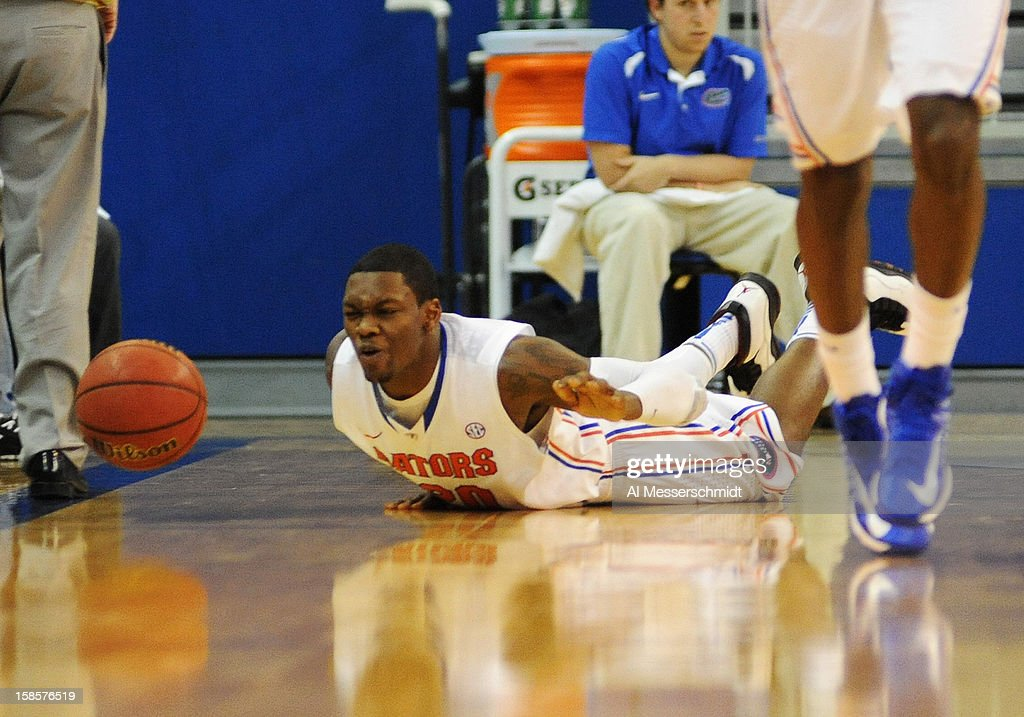 Guard Michael Frazier II of the Florida Gators tumbles against the Southeastern Louisiana Lions December 19, 2012 at Stephen C. O'Connell Center in Gainesville, Florida. The Gators won 82 - 43.