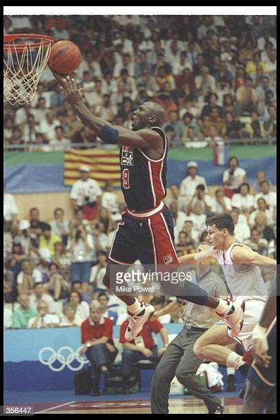 Guard Michael Jordan of the United States goes up for two during a game against Croatia at the Olympic Games in Barcelona Spain Mandatory Credit Mike...