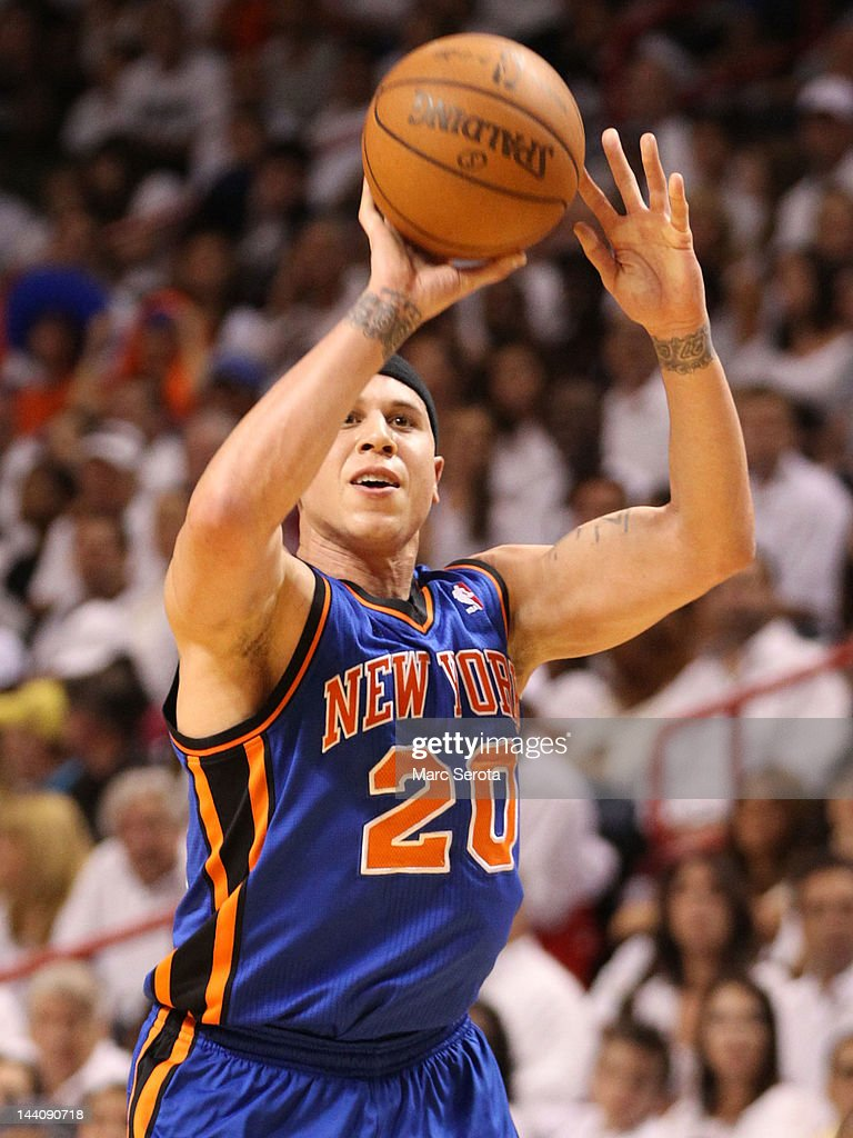 Guard Mike Bibby #20 of the New York Knicks shoots against the Miami Heat in Game Five of the Eastern Conference Quarterfinals in the 2012 NBA Playoffs on May 9, 2012 at the American Airines Arena in Miami, Florida.