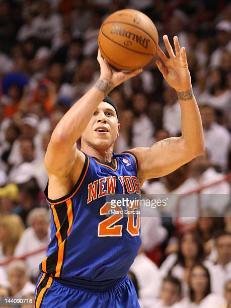 Guard Mike Bibby of the New York Knicks shoots against the Miami Heat in Game Five of the Eastern Conference Quarterfinals in the 2012 NBA Playoffs...