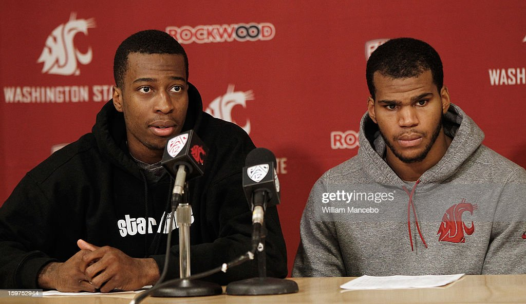 Guard Mike Ladd #2 (left) and guard Royce Woolridge #22 (right) of the Washington State Cougars speak to the media after the game against the Colorado Buffaloes at Beasley Coliseum on January 19, 2013 in Pullman, Washington. The Buffaloes defeated the Cougars 58-49.