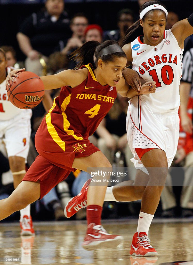Guard Nikki Moody #4 of the Iowa State Cyclones drives against guard Jasmine James #10 of the Georgia Lady Bulldogs in the first half during the second round of the 2013 NCAA Women's Basketball Tournament at McCarthey Athletic Center on March 25, 2013 in Spokane, Washington.