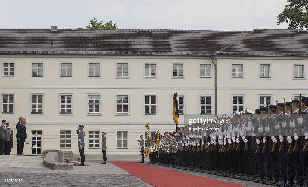 Guard of Honor is seen during a welcoming ceremony for Portuguese President Marcelo Rebelo de Sousa (not seen) at the Bellevue presidential palace in Berlin on May 30, 2016.