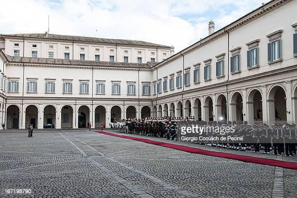Guard of honor wait the arrival of the newly elected President Giorgio Napolitano at Palazzo del Quirinale on April 22 2013 in Rome Italy Giorgio...