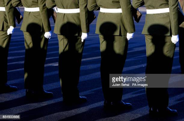 A Guard of Honour drawn from the 2nd Infantry Battalion at Cathal Brugha Barracks Rathmines Dublin waits for President Mary McAleese to inspect them...