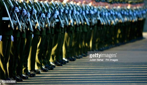 A Guard of Honour drawn from the 2nd Infantry Battalion at Cathal Brugha Barracks RathminesDublin waits for President Mary McAleese to inspect them...