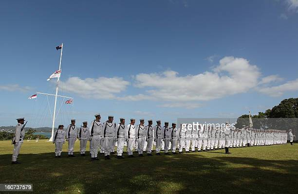 A guard of honour is formed during Beat the retreat at the Treaty Grounds on February 5 2013 in Waitangi New Zealand The Waitangi Day national...