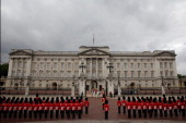 Guard of Honour lines up in formation outside Buckingham Palace on June 4 2014 in London England Queen Elizabeth II is to unveil the coalition...