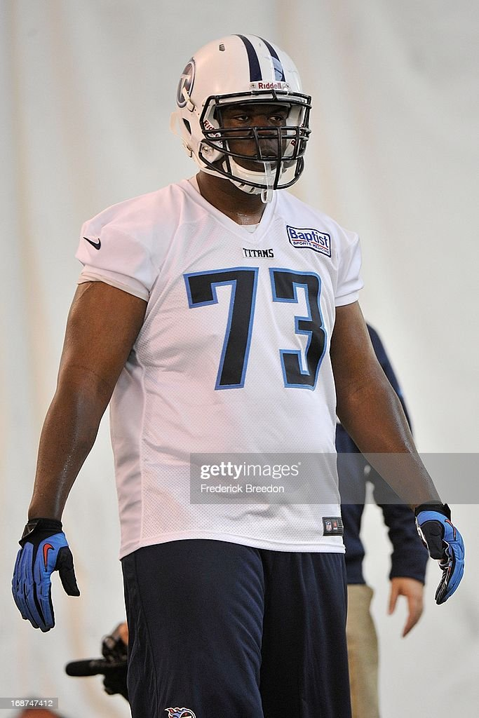 Guard Oscar Johnson #73 of the Tennessee Titans attends rookie camp on May 10, 2013 in Nashville, Tennessee.