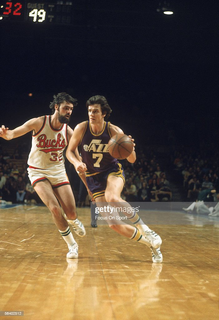 Guard 'Pistol' Pete Maravich of the Utah Jazz dribbles against the Milaukee Bucks circa the late 1970's during a game