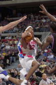 Guard Richard Hamilton of the Detroit Pistons drives to the bsaket against the Cleveland Cavaliers during the game at Palace of Auburn Hills on...