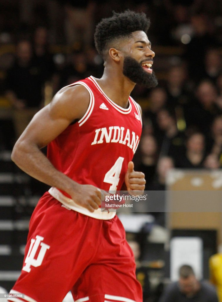 Guard Robert Johnson #4 of the Indiana Hoosiers celebrates a 3-pointer during the second half against the Iowa Hawkeyes on February 17, 2018 at Carver-Hawkeye Arena, in Iowa City, Iowa.