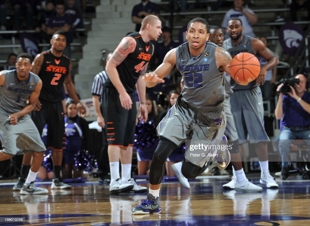Guard Rodney McGruder #22 of the Kansas State Wildcats brings the ball up court after making a steal against the Oklahoma State Cowboys during the second half on January 5, 2013 at Bramlage Coliseum in Manhattan, Kansas. Kansas State defeated Oklahoma State 73-67.
