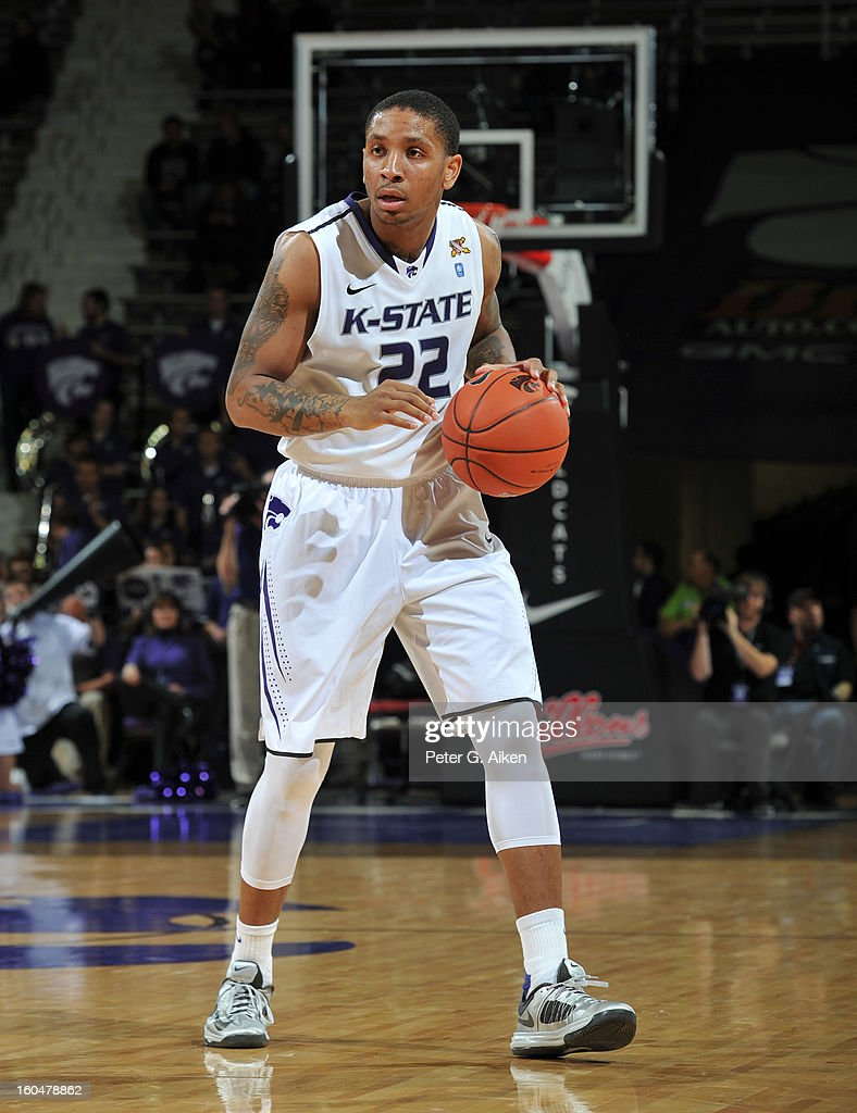 Guard Rodney McGruder #22 of the Kansas State Wildcats brings the ball up court against the Texas Longhorns during the second half on January 30, 2013 at Bramlage Coliseum in Manhattan, Kansas.