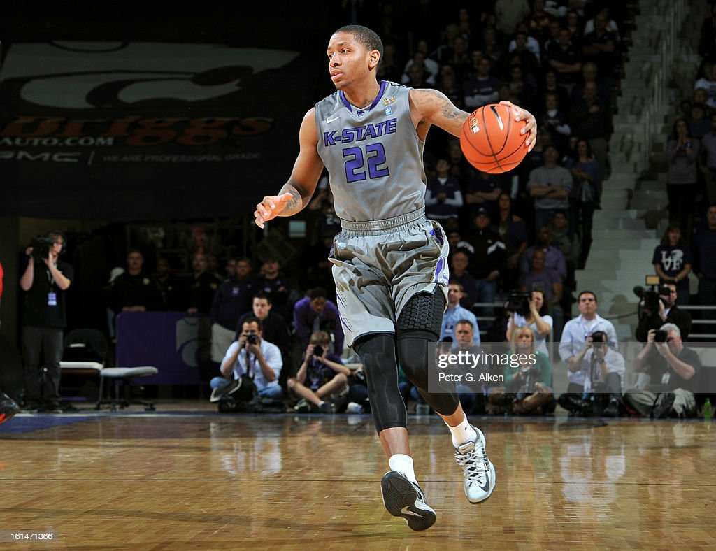 Guard Rodney McGruder #22 of the Kansas State Wildcats brings the ball up court against the Iowa State Cyclones during the second half on February 9, 2013 at Bramlage Coliseum in Manhattan, Kansas.