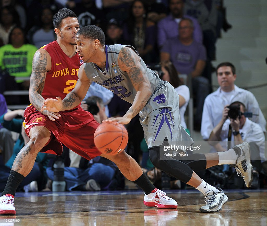 Guard Rodney McGruder #22 of the Kansas State Wildcats drives against guard Chris Babb #2 of the Iowa State Cyclones during the first half on February 9, 2013 at Bramlage Coliseum in Manhattan, Kansas. Kansas State defeated Iowa State 79-70.