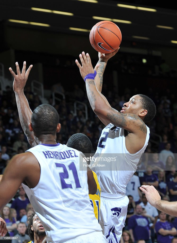 Guard Rodney McGruder #22 of the Kansas State Wildcats drives to the basket against the Missouri-Kansas City Kangaroos during the second half on December 29, 2012 at Bramlage Coliseum in Manhattan, Kansas. Kansas State defeated Missouri-Kansas City 52-44.
