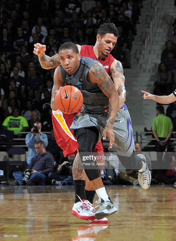 Guard Rodney McGruder #22 of the Kansas State Wildcats heads up court after stealing the ball from guard Chris Babb #2 of the Iowa State Cyclones during the second half on February 9, 2013 at Bramlage Coliseum in Manhattan, Kansas.