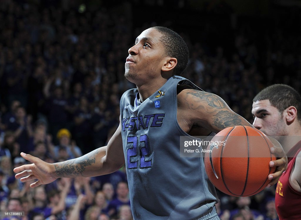 Guard Rodney McGruder #22 of the Kansas State Wildcats reacts after scoring against the Iowa State Cyclones during the second half on February 9, 2013 at Bramlage Coliseum in Manhattan, Kansas. Kansas State defeated Iowa State 79-70.