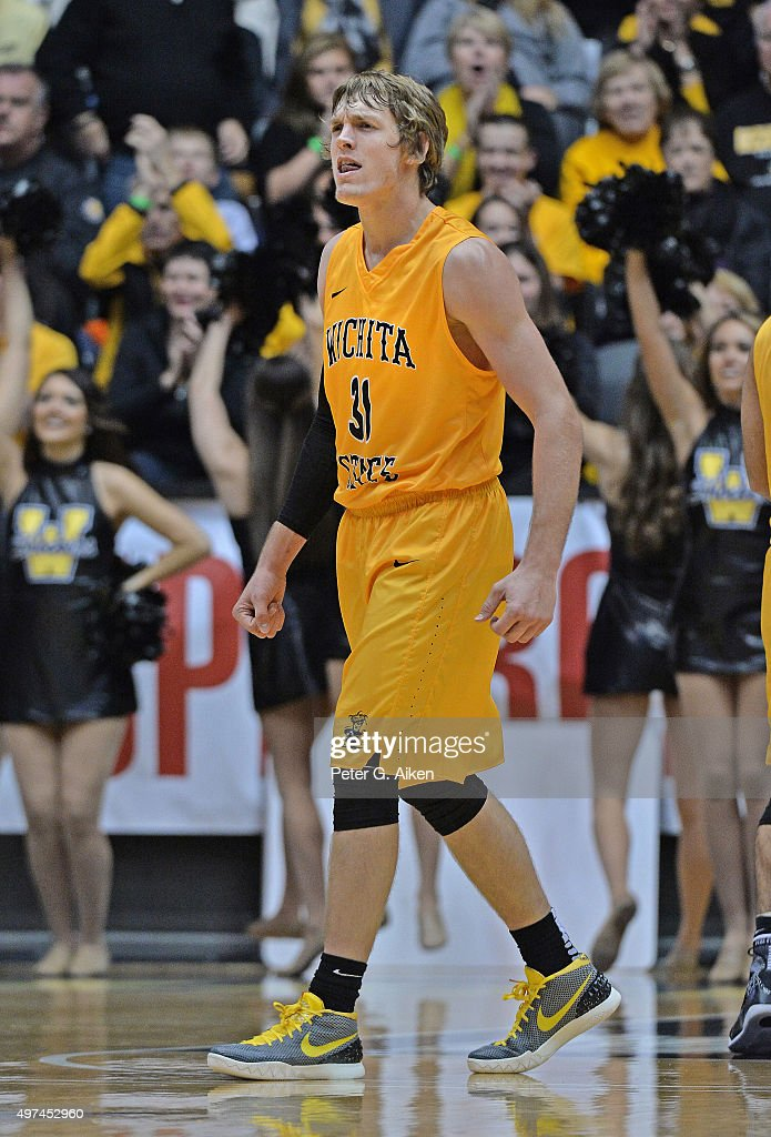 Guard Ron Baker #31 of the Wichita State Shockers reacts after a score against the Charleston Southern Buccaneers during the second half on November 13, 2015 at Charles Koch Arena in Wichita, Kansas.