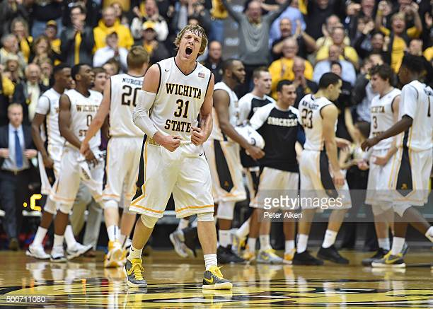 Guard Ron Baker of the Wichita State Shockers reacts after a scoring run against the UNLV Rebels during the first half on December 9 2015 at Charles...