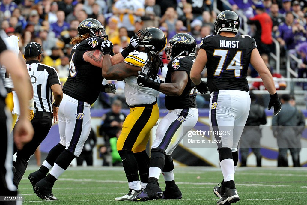 Guard <a gi-track='captionPersonalityLinkClicked' href=/galleries/search?phrase=Ryan+Jensen&family=editorial&specificpeople=234524 ng-click='$event.stopPropagation()'>Ryan Jensen</a> #66 of the Baltimore Ravens fights with defensive tackle <a gi-track='captionPersonalityLinkClicked' href=/galleries/search?phrase=Steve+McLendon&family=editorial&specificpeople=6135312 ng-click='$event.stopPropagation()'>Steve McLendon</a> #90 of the Pittsburgh Steelers during a game on December 27, 2015 at M&T Bank Stadium in Baltimore, Maryland. Baltimore won 20-17.