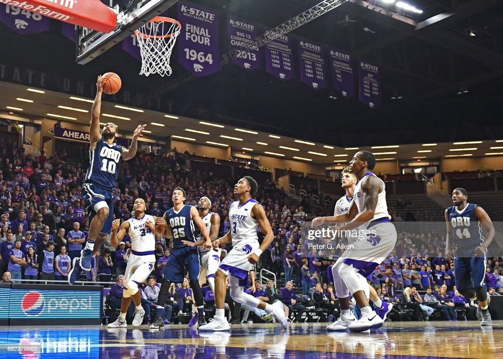 Guard Sam Kearns #10 of the Oral Roberts Golden Eagles drives in for a basket against the Kansas State Wildcats during the first half on November 29, 2017 at Bramlage Coliseum in Manhattan, Kansas.