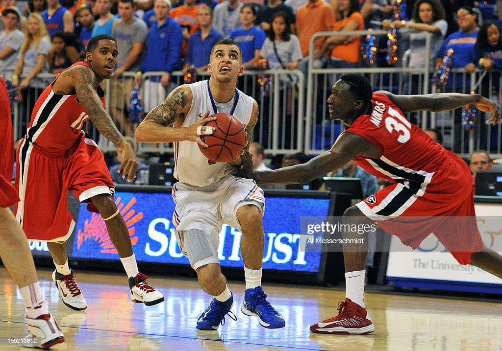 Guard Scottie Wilbekin #5 of the Florida Gators drives up court against the Georgia Bulldogs January 9, 2013 at Stephen C. O'Connell Center in Gainesville, Florida. Florida won 77 - 44.