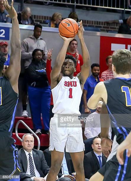 SMU guard Shake Milton attempts a shot during the NCAA men's basketball game between SMU Mustangs and UC Santa Barbara Gauchos on November 22 2016 at...