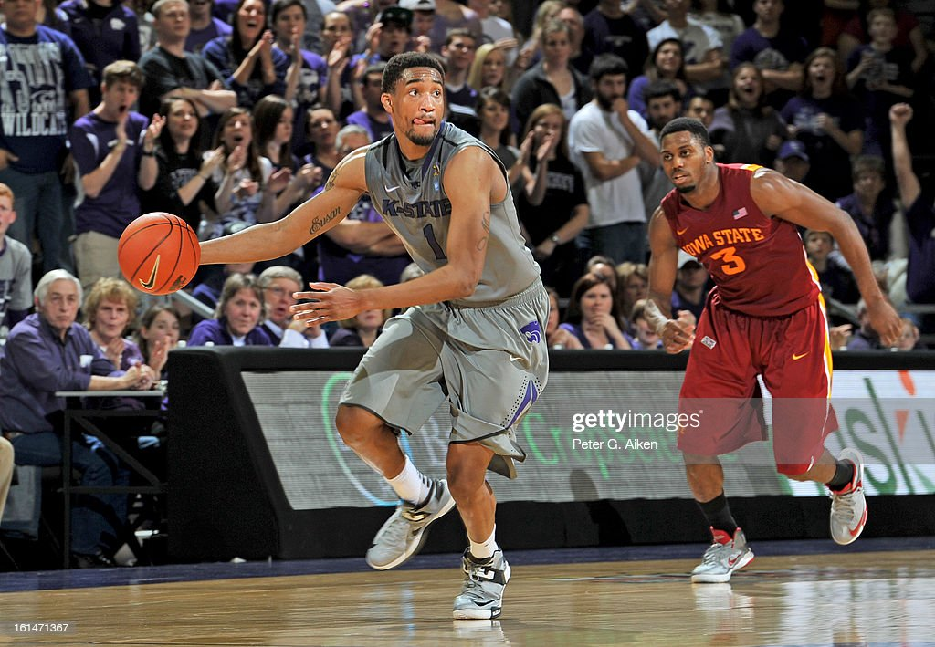 Guard Shane Southwell #1 of the Kansas State Wildcats brings the ball up court ahead of forward Melvin Ejim #3 of the Iowa State Cyclones during the second half on February 9, 2013 at Bramlage Coliseum in Manhattan, Kansas.