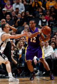 Guard Shannon Brown of the Los Angeles Lakers at ATT Center on March 24 2010 in San Antonio Texas NOTE TO USER User expressly acknowledges and agrees...