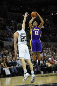 Guard Shannon Brown of the Los Angeles Lakers takes a shot against Manu Ginobili of the San Antonio Spurs on January 12 2010 at ATT Center in San...