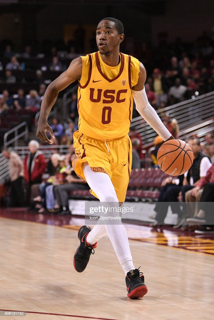 USC guard Shaqquan Aaron (0) drives to the basket during a college basketball game between the Utah Utes and the USC Trojans on January 14, 2018, at the Galen Center in Los Angeles, CA.