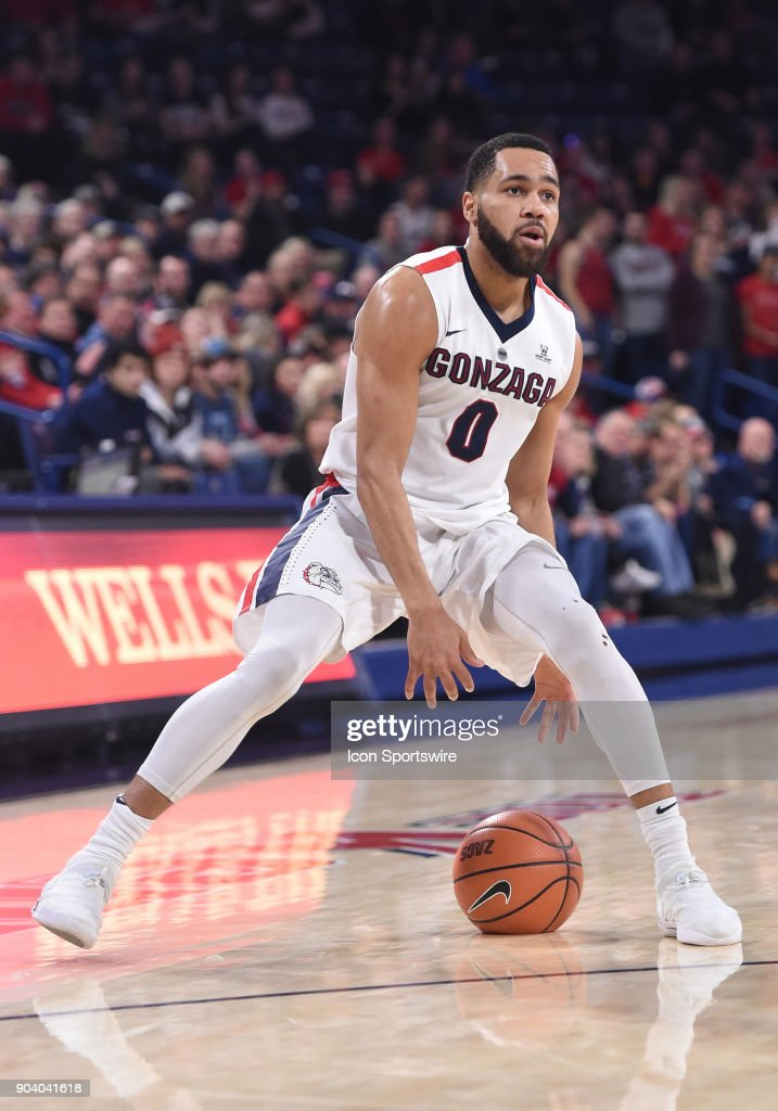 GU guard Silas Melson (0) handles the ball during the game between the Portland Pilots and the Gonzaga Bulldogs played on January 11, 2018, at McCarthey Athletic Center in Spokane, WA.