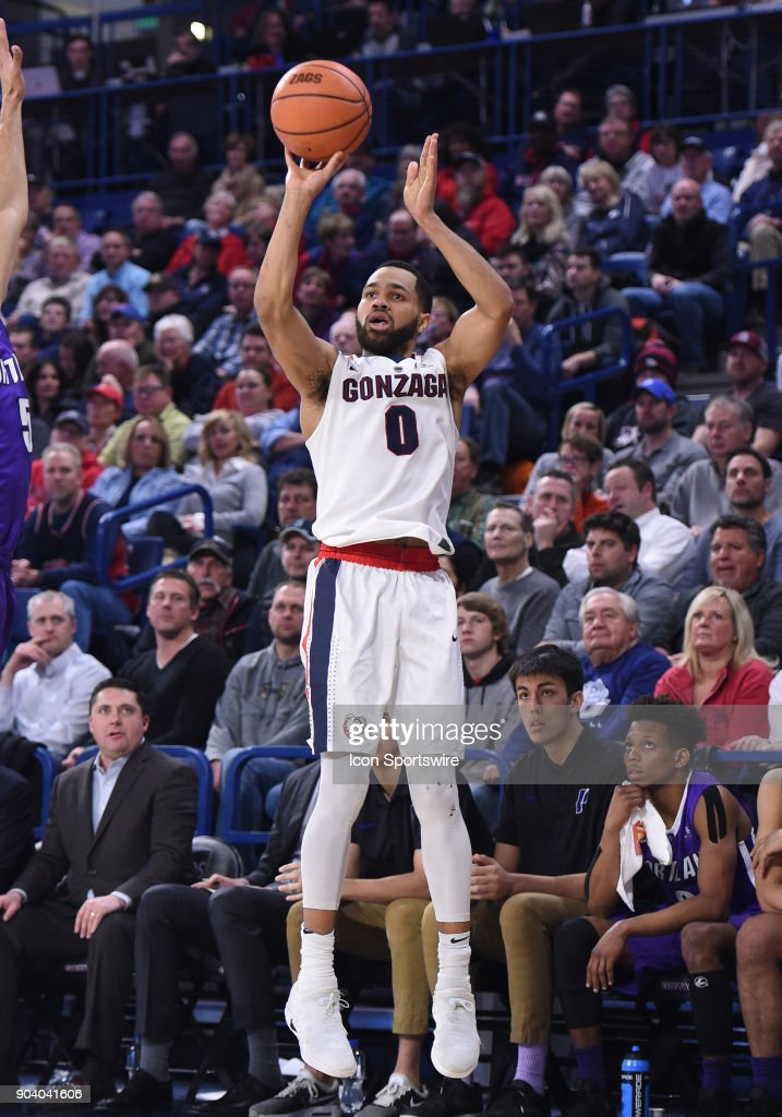 GU guard Silas Melson (0) hits one of his 7 3-pointers during the game between the Portland Pilots and the Gonzaga Bulldogs played on January 11, 2018, at McCarthey Athletic Center in Spokane, WA.