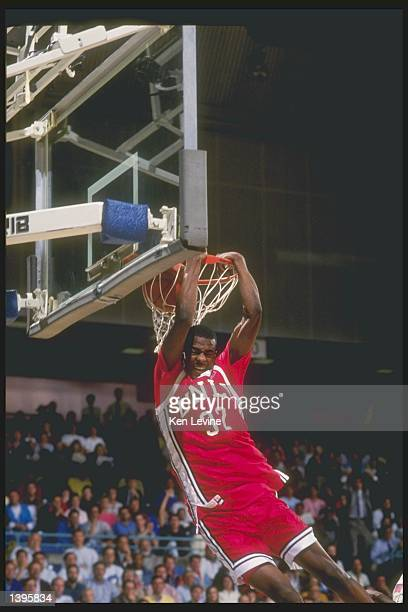 Guard Stacey Augmon of the UNLV Running Rebels dunks during a game against the University of California Irvine Anteaters on January 17 1991 in Irvine...