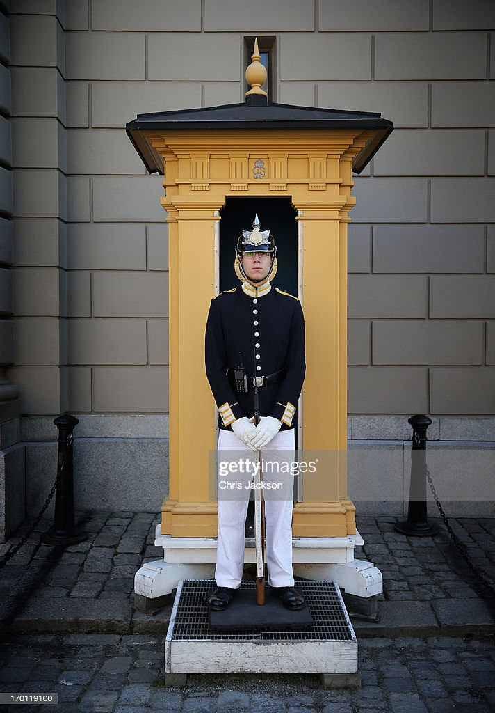 A guard stands outside the Royal Palace in Stockholm as preparations for the wedding of Princess Madeleine of Sweden and Christopher O'Neill continues on June 7, 2013 in Stockholm, Sweden.