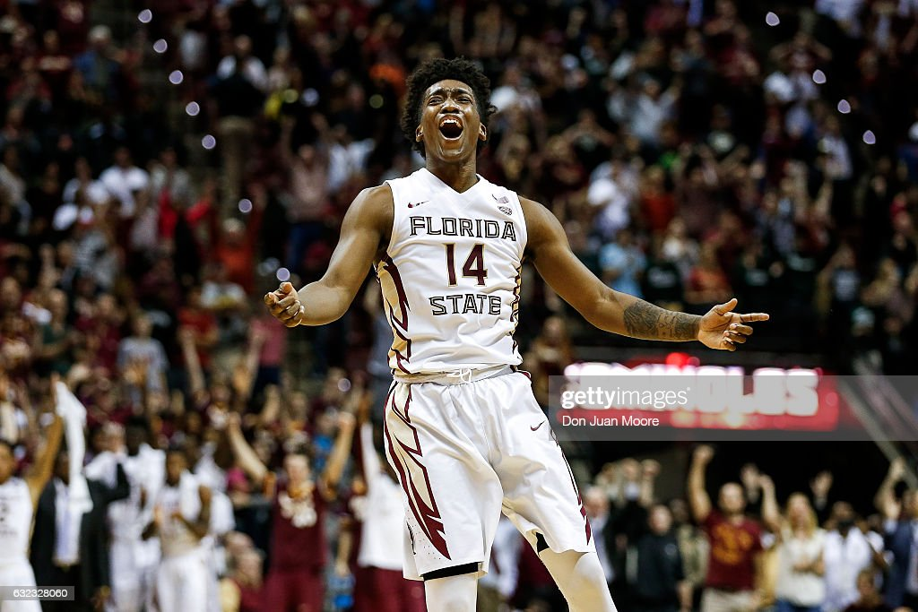Guard Terance Mann #14 of the Florida State Seminoles celebrates after the game against the Louisville Cardinals at the Donald L. Tucker Center on January 21, 2017 in Tallahassee, Florida. The 10th ranked Seminoles defeated the 12th ranked Cardinals 73 to 68.