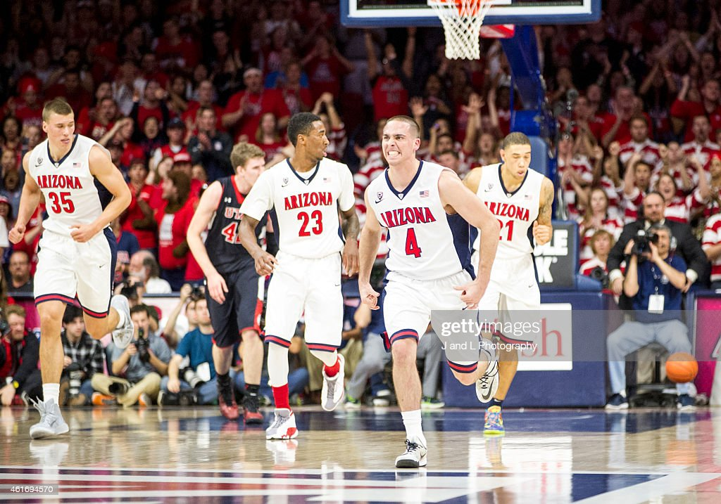 Guard TJ McConnell of the Arizona Wildcats gets the crowd going against the Utah Utes at McKale Center on January 17 2015 in Tucson Arizona