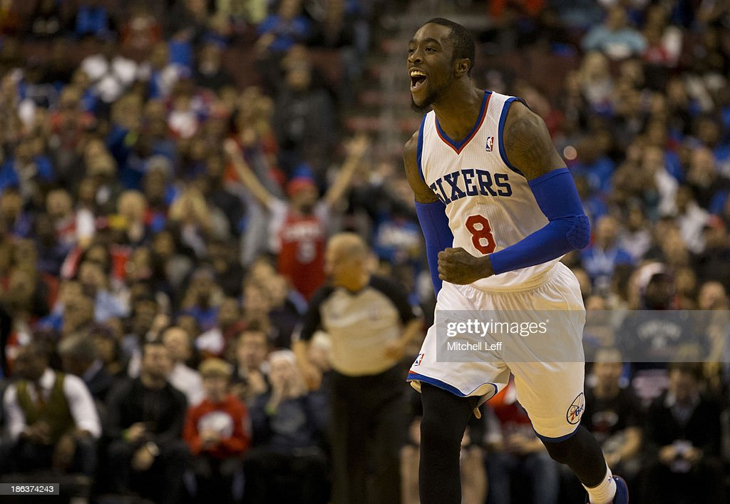 Guard Tony Wroten of the Philadelphia 76ers reacts after making a basket against the Miami Heat on October 30 2013 at the Wells Fargo Center in...