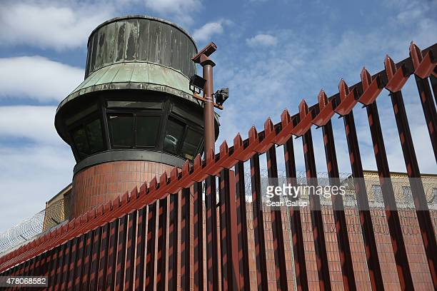 A guard tower stands at the JVA Moabit prison where AlJazeera reporter Ahmed Mansour is being held on June 22 2015 in Berlin Germany Police acting on...